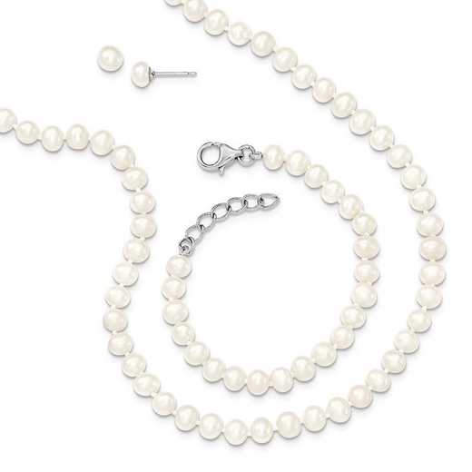QH5180SET: SS RH 4-5mm FWC Pearl 14/1 Necklace 5/1 Brace Earring Set