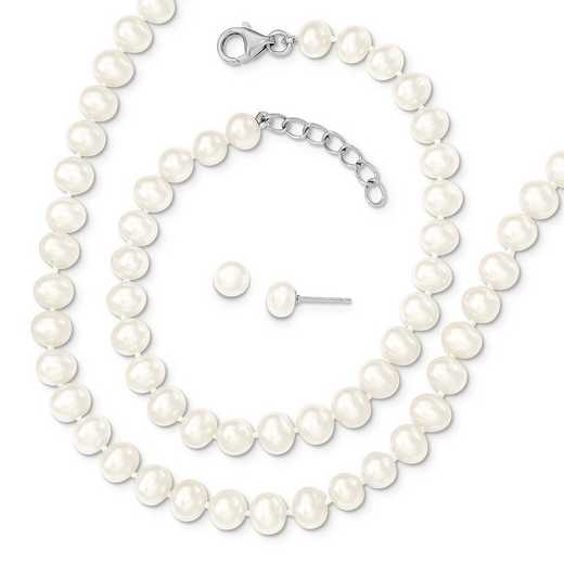 QH5181SET: SS RH 6-7mm FWC Pearl 18/2 Necklace 7/1 Brace & Earring Set