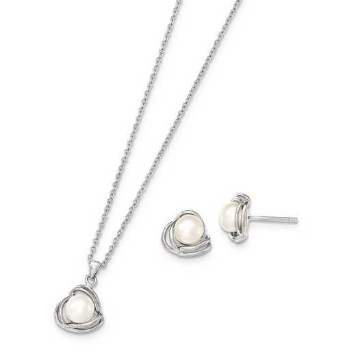 QH5185SET: Sterling Silver 6-7mm White FWC Pearl Necklace & Earring Set