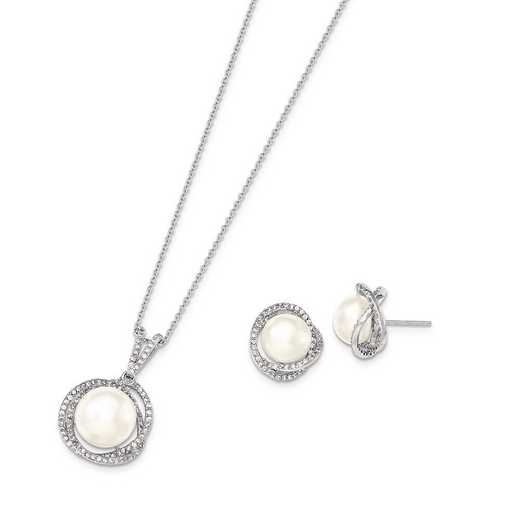 QH5192SET: Sterling Silver 10-12mm White FWC Pearl CZ Neckl/Earring Set
