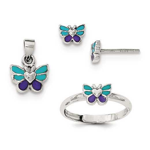 QH5201SET: SS Rhodium Butterfly Children's Earring - Ring & Pendant Set