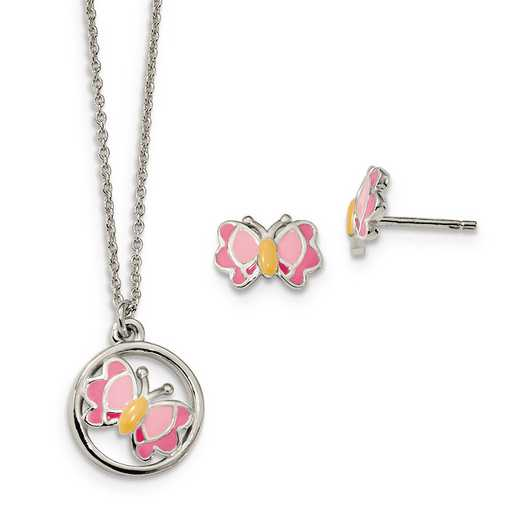 QH5353SET: Sterling Silver Enameled Butterfly Earrings & Necklace Set