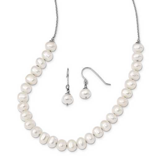 QH5369SET: Sterling Silver 7-8mm White FWC Pearl Earring / Necklace Set