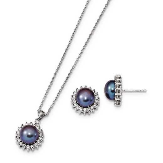 QH5376SET: Sterling Silver 8-9mm Black FWC Pearl Earring & Necklace Set