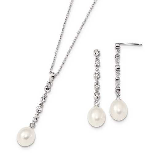 QH5387SET: Sterling Silver 8-9mm White FWC Pearl CZ Earring Necklac Set