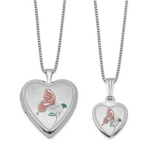 QLS440SET: Sterling Silver Polished and Satin Butterfly Heart Locket &