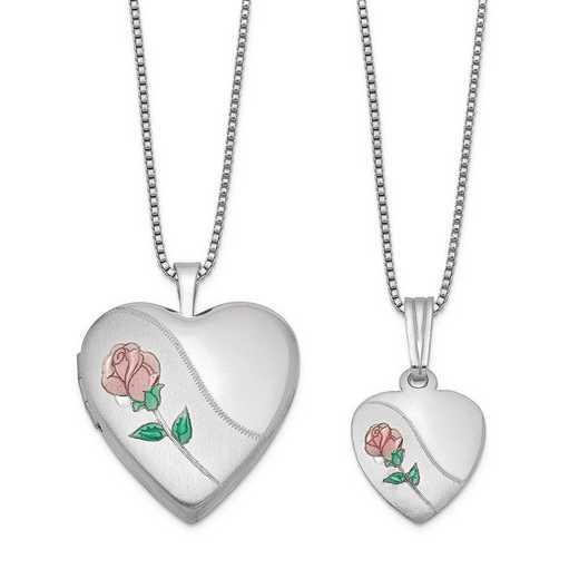 QLS441SET: Sterling Silver Polished and Satin Rose Heart Locket & Penda