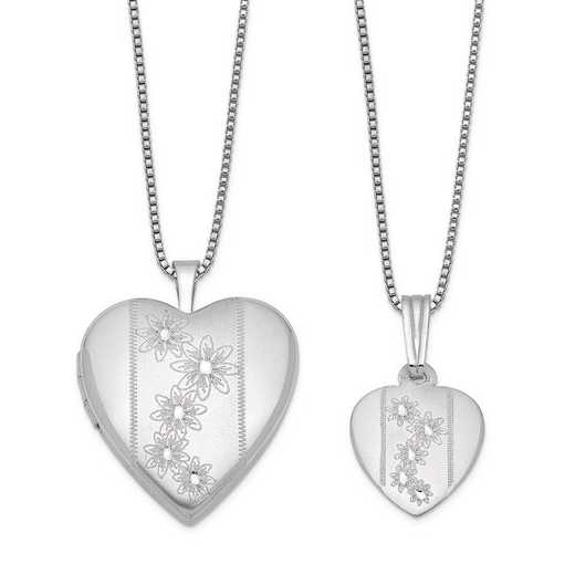 QLS444SET: Sterling Silver Polished and Satin Flowers Heart Locket & Pe