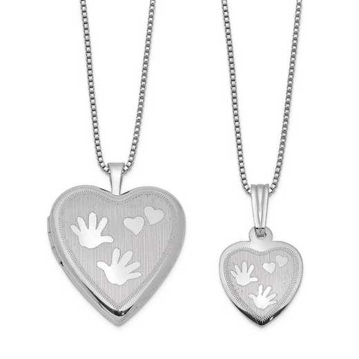 QLS446SET: Sterling Silver Polished Satin Hand and Hearts Locket & Pend