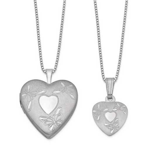 QLS451SET: Sterling Silver Polished Satin Butterfly Heart Locket & Pend