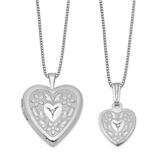 QLS452SET: Sterling Silver Diamond Accent Heart Locket & Pendant Set