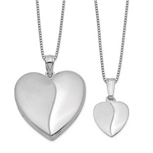 QLS459SET: Sterling Silver Polished and Satin Heart Locket/Pendant Set