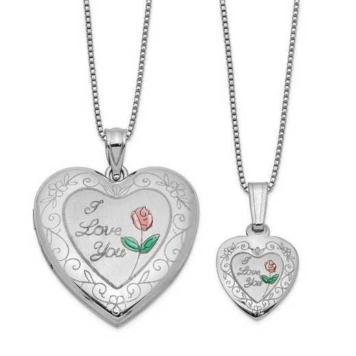 QLS461SET: Sterling Silver Rose I Love You Heart Locket/Pendant Necklce