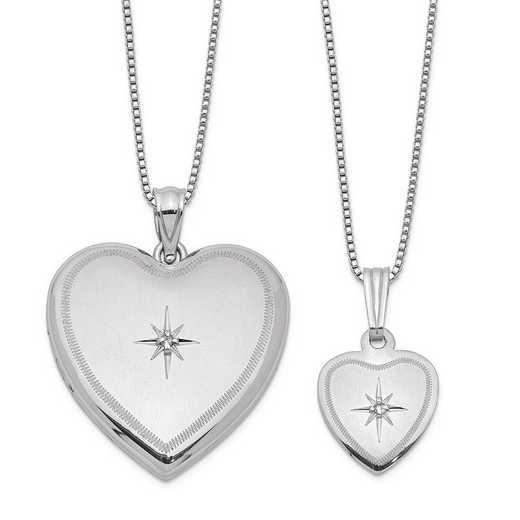 QLS462SET: SS Diamond ACCENT Polished Satin Heart Locket & Pendant