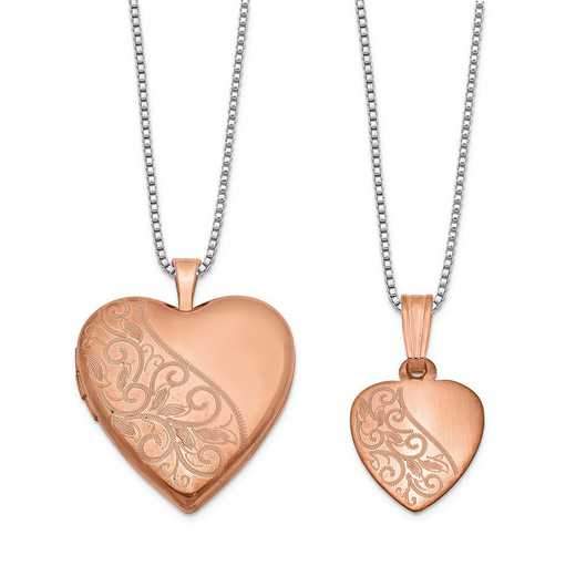 QLS664SET: Sterling Silver Rose-plated Swirl Design Heart Locket & Pend