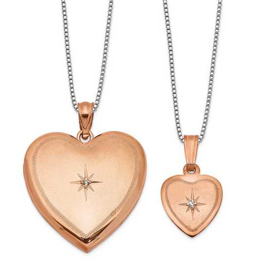 QLS666SET: SS Rose-plated Diamond Accent Polish Satin Heart Locket/Pend