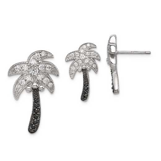 QST226SET: Sterling Silver Blk/Wh CZ Palm Tree Pend & Post Earring Set