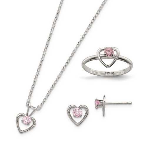 """QST247SET: Sterling Silver Childs 15"""" Neckl - Earrings & Size 3 Ring Set"""