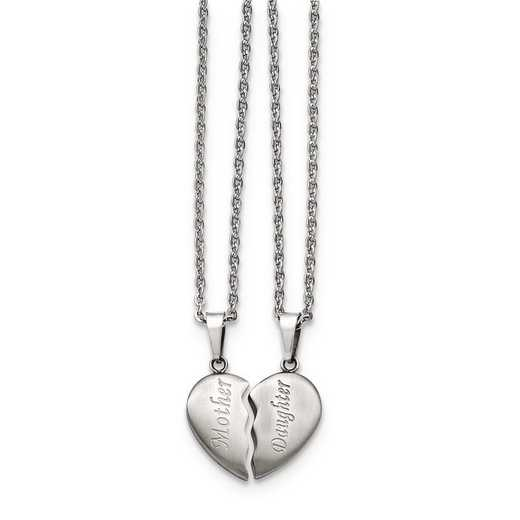 """SRSET28-18: Stainless Steel 1/2 Heart """"Mother""""/""""Daughter"""" Necklace Set"""