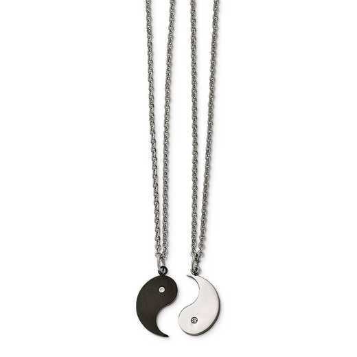 SRSET31-20: Stainless Steel 1/2 Black IP Yin w/CZ & 1/2 Yang Necklac Set