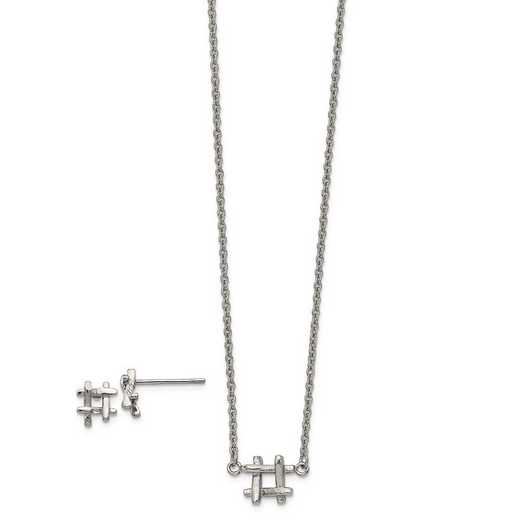 SRSET40: Stainless Steel HashTag 16in w/2in ext Necklace/Earring Set
