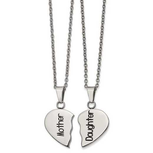 SRSET41: Stainless Steel Enamel 1/2 Heart Mother/Daugh Necklace Set