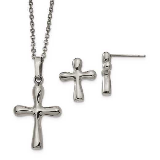 SRSET42: Stainless Steel Cross Earring & 18in /2in ext Necklace Set