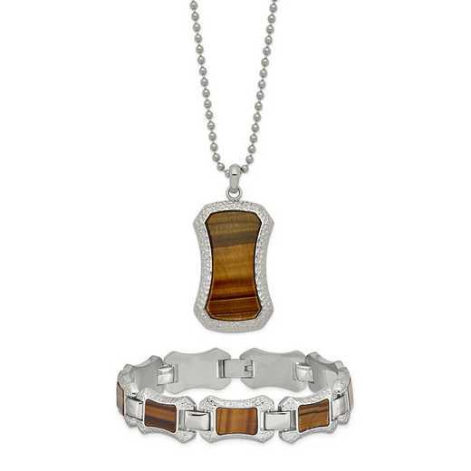 "STSET102: Stainless Steel C & Tiger Eye 24"" Necklace & 8.25"" Bracelet"