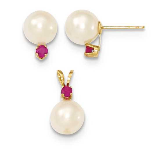 XF305SET: 14k 7-8mm White FWC Pearl & Ruby Stud Earrings & Pendant