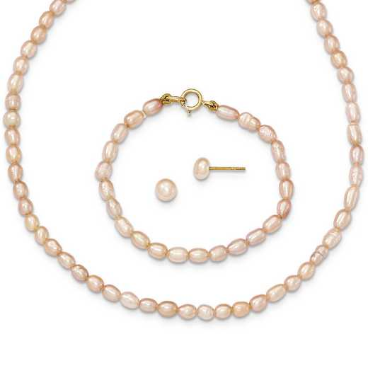"XF400SET: 14k Pink FWC Pearl 12"""" Necklace - 5"""" Bracelet & Earring Set"