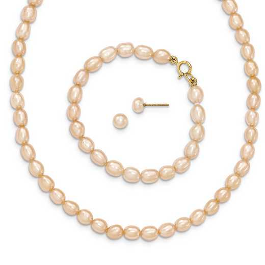 "XF402SET: 14k Pink FWC Pearl 14"""" Necklace - 5"""" Bracelet & Earring Set"