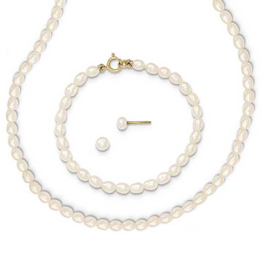 "XF403SET: 14k White FWC Pearl 14""Necklace - 5""Bracelet & Earring Set"