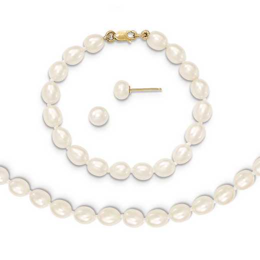 "XF455SET: 14k 5-6mm FWC Pearl 5""Bracelet, 14""Necklace & Earring Set"