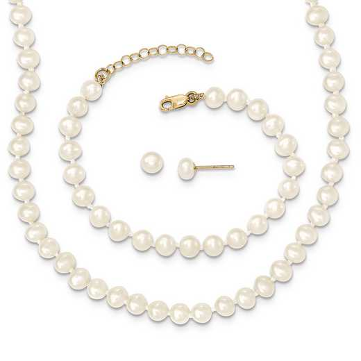 XF456SET: 14k 4-5mm FWC Pearl 5/1 ext Bracelet 14/1 ext Neck/Earr Set