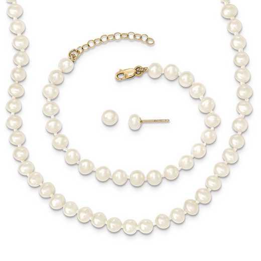 XF456SET: 14k 4-5mm FWC Pearl 5/1 ext Bracelet 14/1 ext Neck/Earr Set