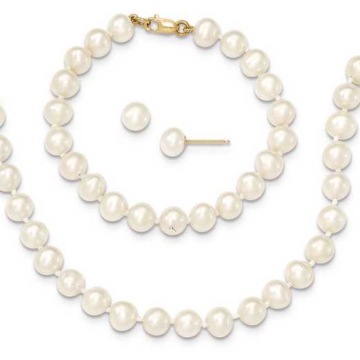 "XF457SET: 14k 5-6mm FWC Pearl 5""Bracelet - 14""Necklace & Earring Set"