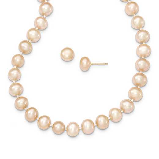 XF497SET: 14k 7-8mm Pink FWC Pearl Necklace & Button Stud Earring Set