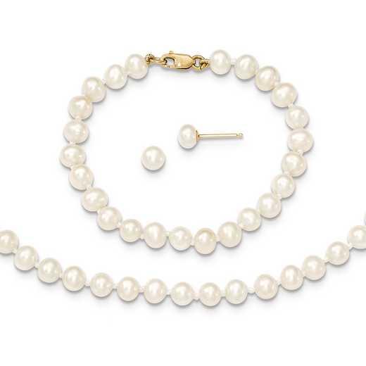 """XF503SET: 14k 4-5mm FWC Pearl - 14""""Necklace - 5""""Bracelet & Earring Set"""
