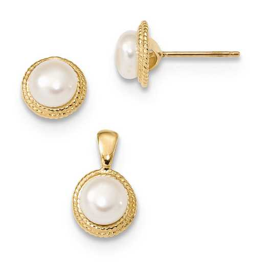 XF629SET: 14k 5-6mm White Button FWC Pearl Earring and Pendant Set