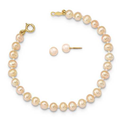 "XF730SET: 14K Madi K 4-5mm Pink FWC Pearl 5.5"" Bracelet & Earrings Set"