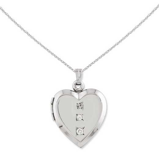CBEL18787-18: 14KT Wht Gold Polished Heart w/3'CZ's Locket on 18in Chain