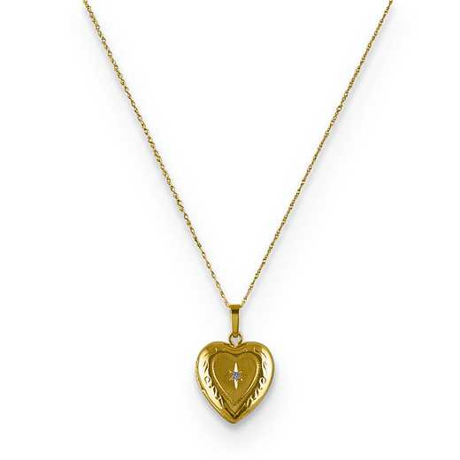 CBEL19392-18: 14KT Yllw Gld 18' Pol/Satin Design Heart Locket Pend Chain
