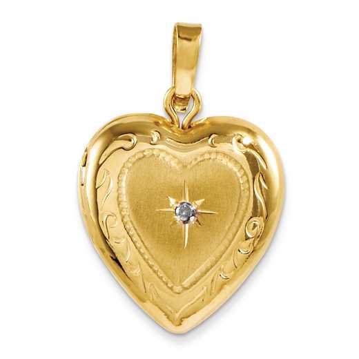 CBEL19428: 14KT Yellow Gold Polished 13mm Heart Locket Charm