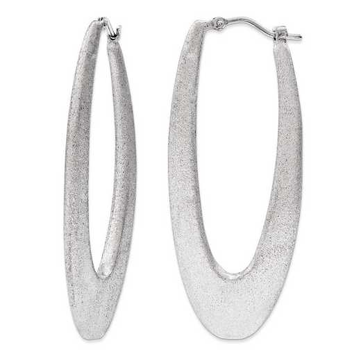 J290746180000: Sterling Silver 2 in Elongated satin Hoops Rhodium plating