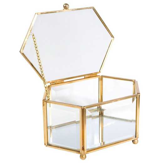 27160-GOLD: KEN Vintage Diamond Shape Glass Keepsake Box in Gold