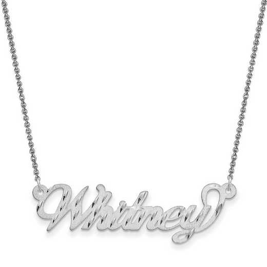 10XNA184W-10PE74-18: 10K .013 Gauge White Gold Satin Diamond-cut Name Plate