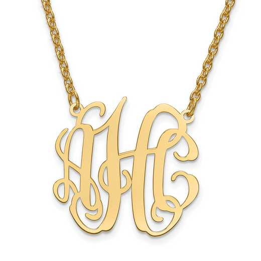 XNA547GP: Gold Plated/SS Laser Circular Shaped Monogram Plate W/Chain