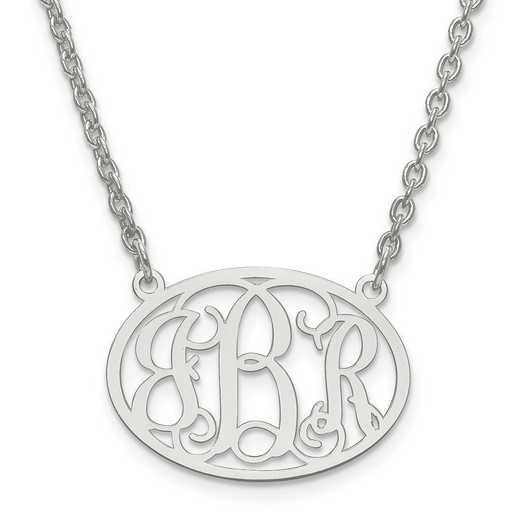XNA577SS: SS Rh-plt Small Laser Polished Oval Monogram Plate w/ Chain