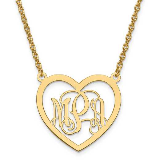 10XNA595Y: 10ky Small Laser Polished Heart Plate Monogram w/ Chain