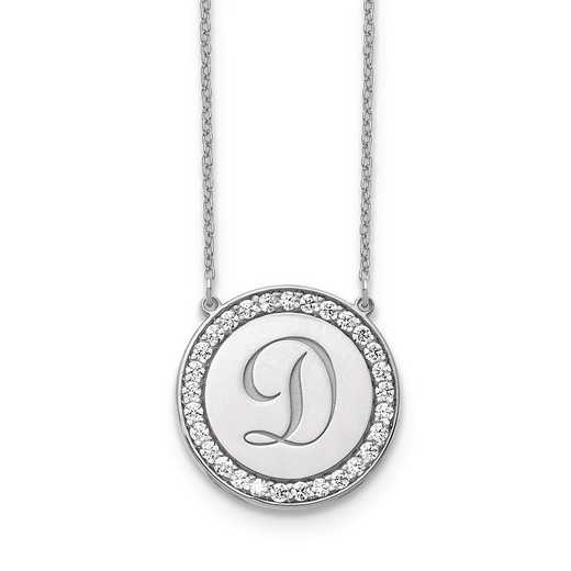 10XNA847WAA: 10kw Circle Letter Necklace with Diamonds